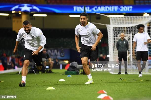 Tomas Rincon of Juventus and Sami Khedira of Juventus take part in a Juventus training session prior to the UEFA Champions League Final between...