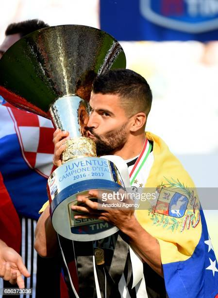 Tomas Rincon of Juventus celebrates the Italian Serie A championship with the trophy after winning the Italian Serie A soccer match between Juventus...