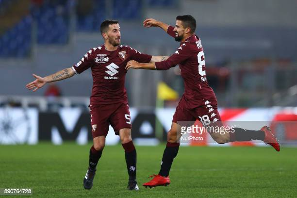 Tomas Rincon of Torino and Mirko Valdifiori of Torino celebrate after the goal during the Italian Serie A football match Lazio versus Torino on...
