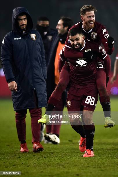 Tomas Rincon of Torino FC and Cristian Ansaldi of Torino FC celebrate the victory at the end of the Serie A football match between Torino FC and FC...
