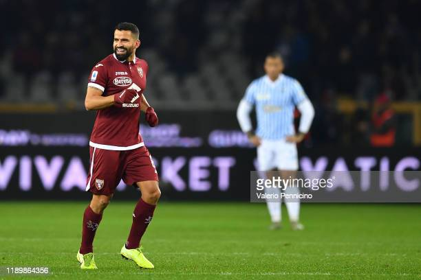 Tomas Rincon of Torino FC celebrates after scoring the opening goal during the Serie A match between Torino FC and SPAL at Stadio Olimpico di Torino...