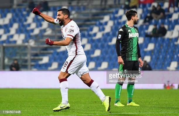 Tomas Rincon of Torino FC celebrates after scoring the opening goal during the Serie A match between US Sassuolo and Torino FC at Mapei Stadium...