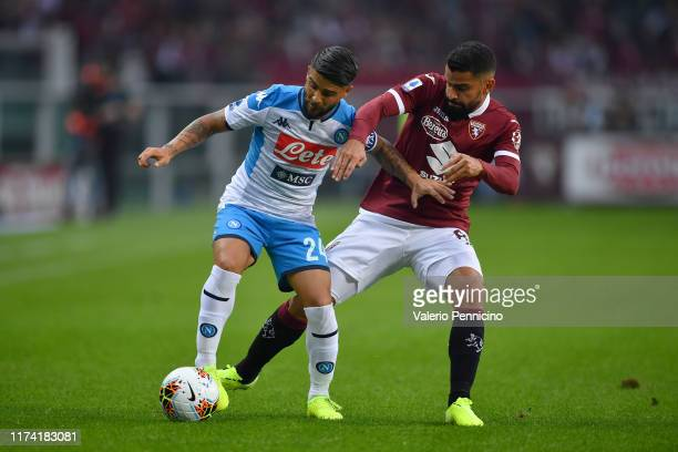 Tomas Rincon of Torino FC competes with Lorenzo Insigne of SSC Napoli during the Serie A match between Torino FC and SSC Napoli at Stadio Olimpico di...