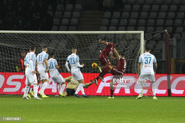 Tomas Rincon of Torino FC scores during the Serie A football match between Torino FC and S.P.A.L. At Olympic Grande Torino Stadium on December 21,...