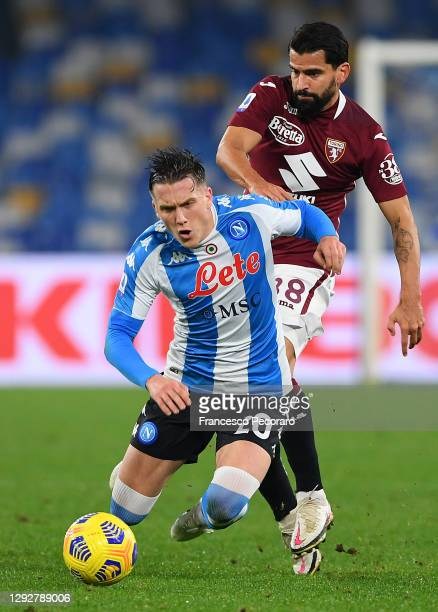 Tomas Rincon of Torino F.C. Tackles Piotr Zielinski of S.S.C. Napoli during the Serie A match between SSC Napoli and Torino FC at Stadio Diego...