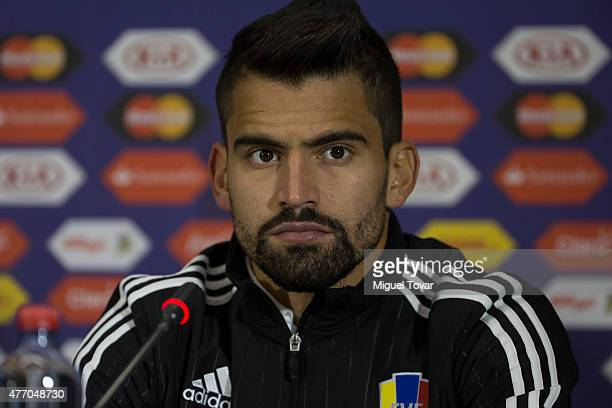 Tomas Rincon of Venezuela attends during a press conference at El Teniente Stadium on June 13 2015 in Rancagua Chile Venezuela will face to Colombia...