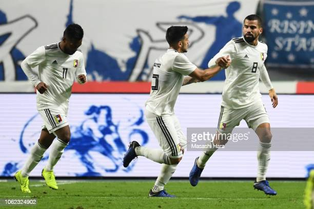 Tomas Rincon of Venezuela celebrates the first goal during the international friendly match between Japan and Venezuela at Oita Bank Dome on November...