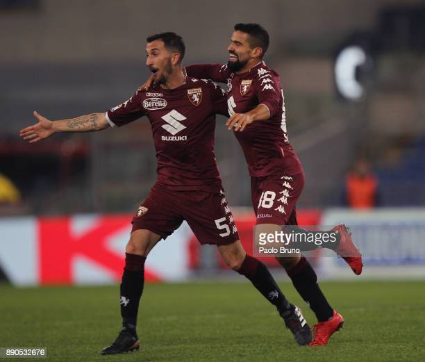 Tomas Rincon with his teammates of Torino FC celebrates after scoring the team's second goal during the Serie A match between SS Lazio and Torino FC...