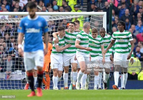 Tomas Rogic of Celtic celebrates after scoring his sides first goal with his Celtic team mates during the Scottish Cup Semi Final match between...