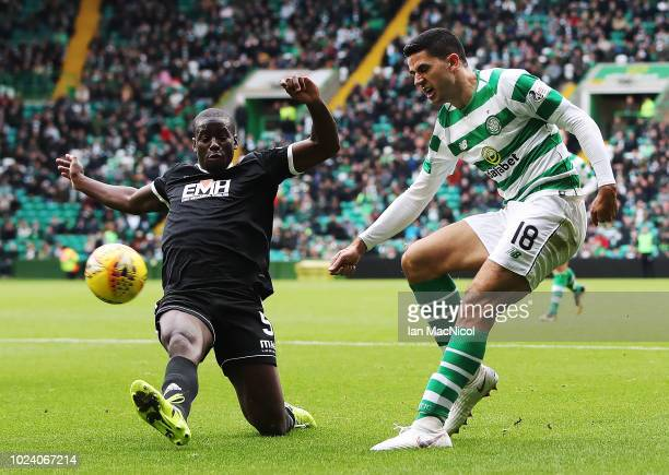 Tomas Rogic of Celtic shoots at goal during the Scottish Premier League match between Celtic and Hamilton Academical at Celtic Park Stadium on August...