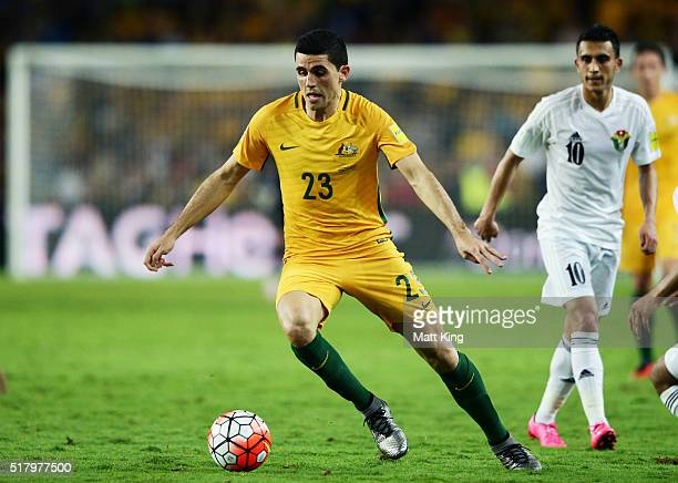 Tomas Rogic of the Socceroos controls the ball during the 2018 FIFA World Cup Qualification match between the Australian Socceroos and Jordan at...