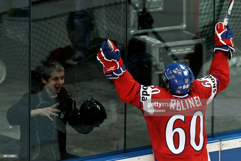 Tomas Rolinek of Czech Republic celebrates his team's second goal during the IIHF World Championship group F qualification round match between Czech Republic and Latvia at SAP Arena on May 17, 2010 in Mannheim, Germany.