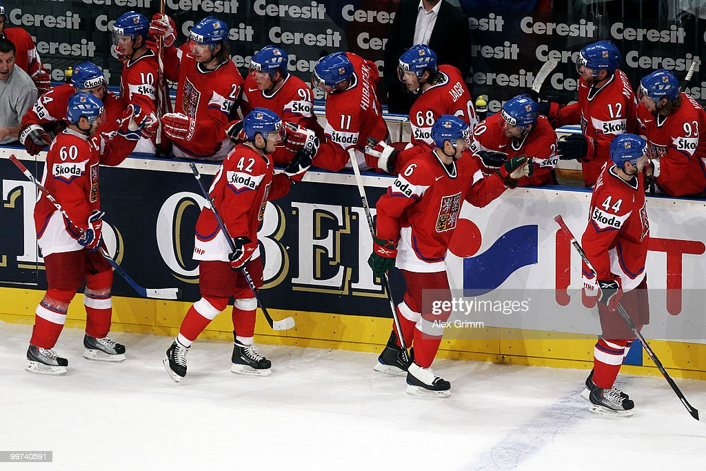 Tomas Rolinek (L) of Czech Republic celebrates his team's second goal with team mates during the IIHF World Championship group F qualification round match between Czech Republic and Latvia at SAP Arena on May 17, 2010 in Mannheim, Germany.