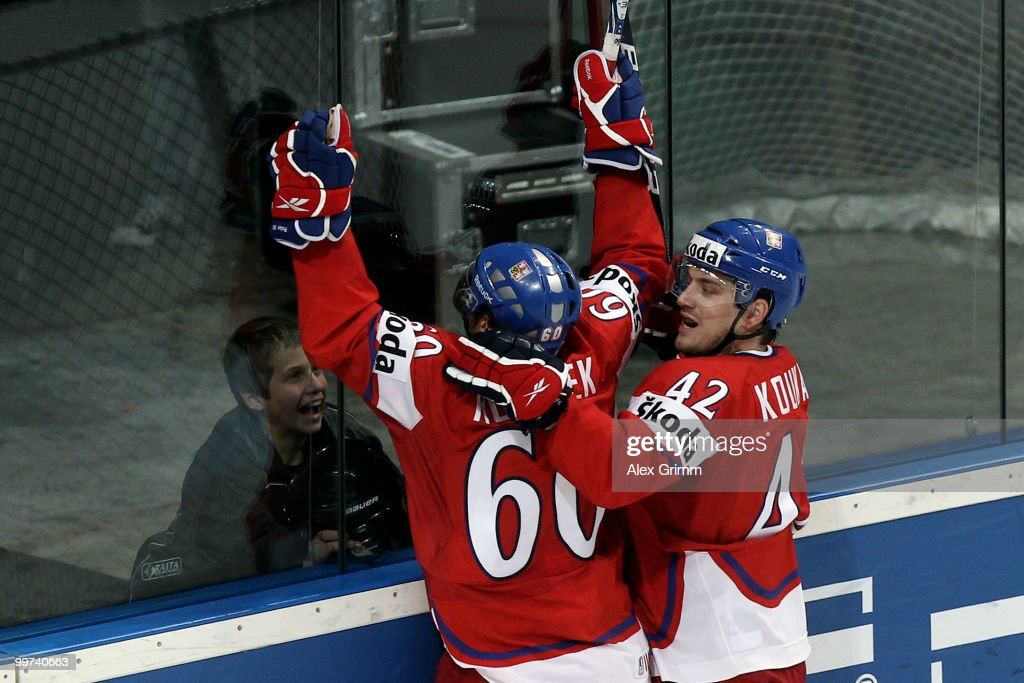 Tomas Rolinek (L) of Czech Republic celebrates his team's second goal with team mate Petr Koukal during the IIHF World Championship group F qualification round match between Czech Republic and Latvia at SAP Arena on May 17, 2010 in Mannheim, Germany.