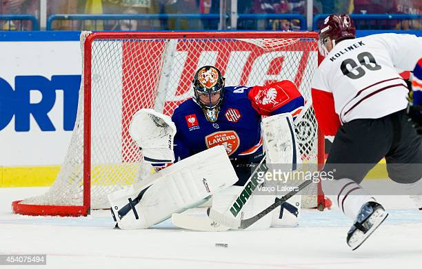 Tomas Rolinek of Sparta Prague is about to score on Christopher Nihlstorp Goaltender of Växjö Lakers to make it 1-0 during the Champions Hockey...