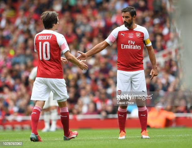 Tomas Rosicky and Robert Pires of Arsenal during the match between Arsenal Legends and Real Madrid Legends at Emirates Stadium on September 8, 2018...