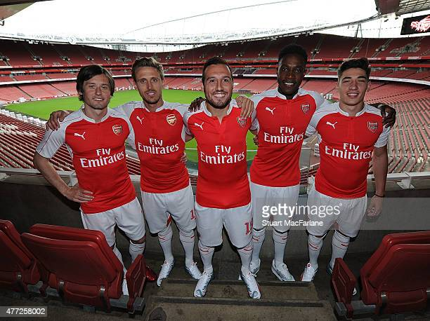 Tomas Rosicky Nacho Monreal Santi Cazorla Danny Welbeck and Hector Bellerin at the launch of Arsenal's home kit for season 2015/16 at Emirates...