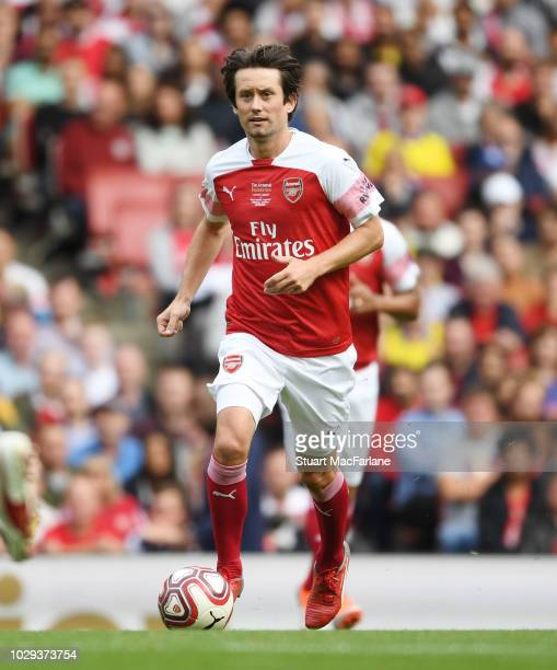 Tomas Rosicky of Arsenal controls the ball during the match between Arsenal Legends and Real Madrid Legends at Emirates Stadium on September 8, 2018...