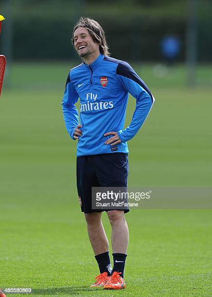 Tomas Rosicky of Arsenal during a training session at London Colney on April 19, 2014 in St Albans, England.
