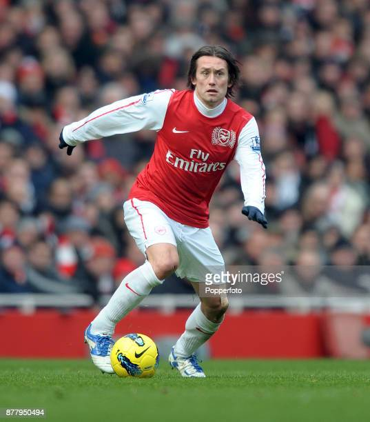 Tomas Rosicky of Arsenal in action during the Barclays Premier League match between Arsenal and Blackburn Rovers at the Emirates Stadium on February...