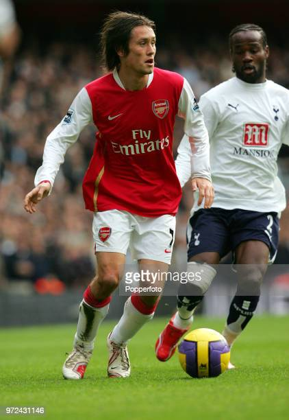 Tomas Rosicky of Arsenal in action during the Barclays Premiership match between Arsenal and Tottenham Hotspur at the Emirates Stadium in London on...
