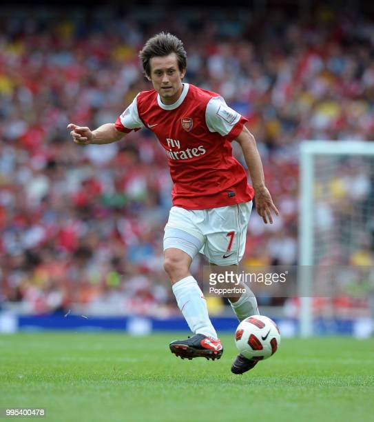 Tomas Rosicky of Arsenal in action during the Emirates Cup match between Arsenal and Celtic at the Emirates Stadium on August 1 2010 in London England
