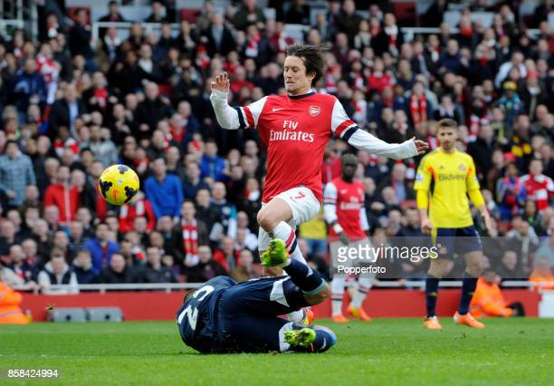 Tomas Rosicky of Arsenal in action during the match between Arsenal and Sunderland in the Barclays Premier League at Emirates Stadium on February 22...