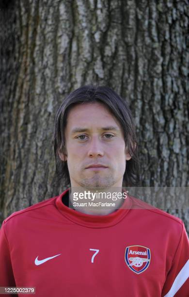 Tomas Rosicky of Arsenal poses during an Arsenal Magaine photoshoot on April 13 2012 in St Albans England