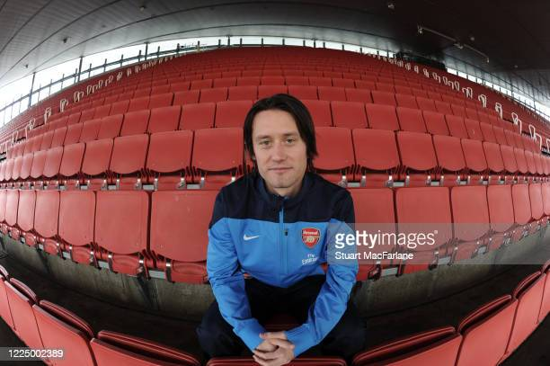 Tomas Rosicky of Arsenal poses during an Arsenal Magazine photoshoot in the Emirates Staduim on February 12 2014 in London England