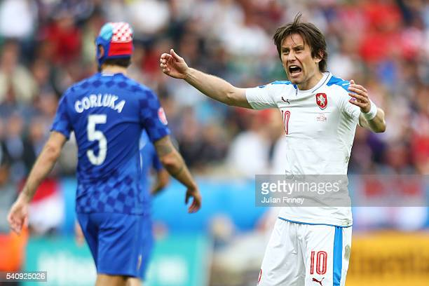 Tomas Rosicky of Czech Republic celebrates after his side score their first goal during the UEFA EURO 2016 Group D match between Czech Republic and...