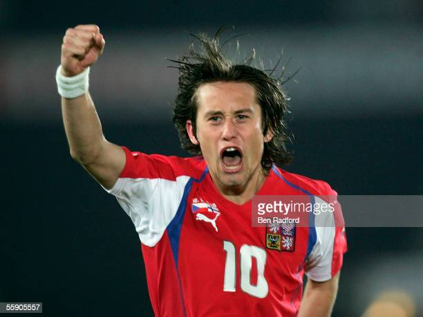Tomas Rosicky of Czech Republic celebrates his goal during the FIFA World Cup Qualifying, Group One match between Finland and the Czech Republic at...