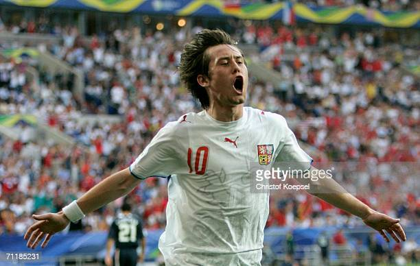 Tomas Rosicky of Czech Republic celebrates scoring his second goal during the FIFA World Cup Germany 2006 Group E match between USA and Czech...