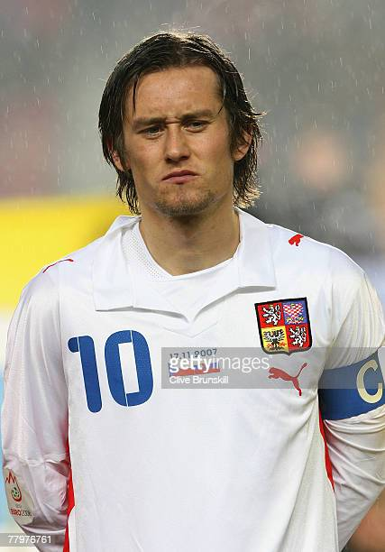 Tomas Rosicky of Czech Republic during the Euro 2008 Group D qualifying match between Czech Republic and Slovakia at the Axa Arena Praha on November...