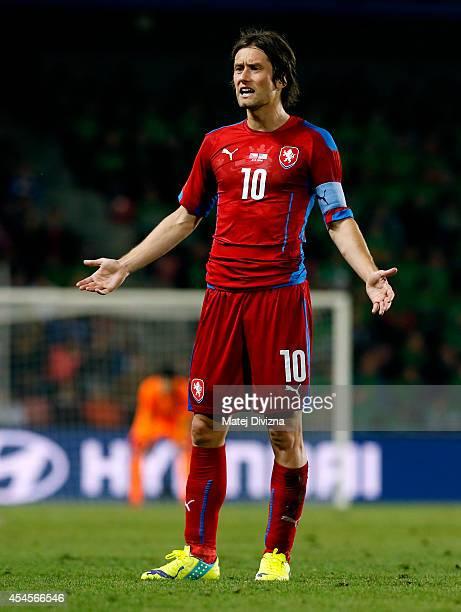 Tomas Rosicky of Czech Republic gestures during the international friendly match between Czech Republic and USA on September 3 2014 in Prague Czech...