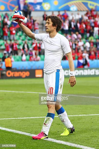 Tomas Rosicky of Czech Republic gives a supporter his shirt following the UEFA EURO 2016 Group D match between Czech Republic and Croatia at Stade...