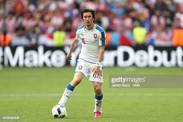 Tomas Rosicky of Czech Republic in action during the UEFA EURO 2016 Group D match between Czech Republic and Croatia at Stade Geoffroy-Guichard on...
