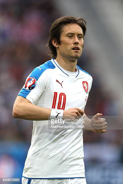 Tomas Rosicky of Czech Republic looks on during the UEFA EURO 2016 Group D match between Czech Republic and Croatia at Stade Geoffroy-Guichard on...