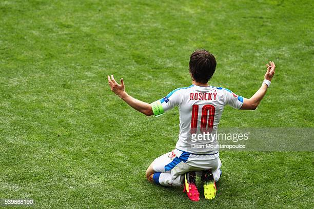 Tomas Rosicky of Czech Republic reacts after being challenged by Andres Iniesta of Spain during the UEFA EURO 2016 Group D match between Spain and...