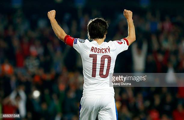 Tomas Rosicky of Czech Republic reacts during the UEFA EURO 2016 Group A Qualifier between Czech Republic and Netherlands at Generali Arena on...
