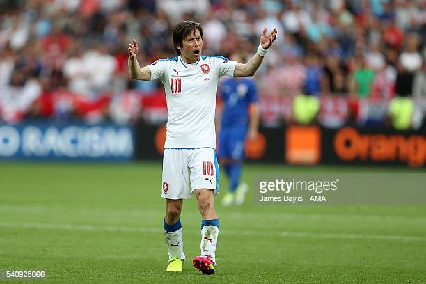Tomas Rosicky of Czech Republic reacts during the UEFA EURO 2016 Group D match between Czech Republic and Croatia at Stade Geoffroy-Guichard on June...