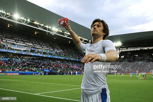 Tomas Rosicky of Czech Republic throws his shirt to the fans at the end of the UEFA EURO 2016 Group D match between Czech Republic and Croatia at...