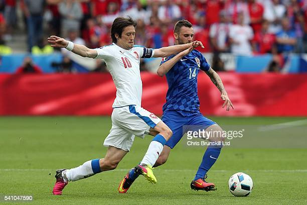 Tomas Rosicky of the Czech Republic in action with Marcelo Brozovic of Croatia during the UEFA Euro 2016 Group D match between the Czech Republic and...