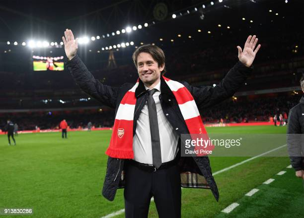Tomas Rosicky the ex Arsenal player is interviewed during the match the Premier League match between Arsenal and Everton at Emirates Stadium on...