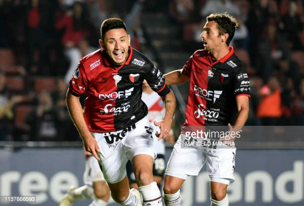 Tomas Sandoval of Argentinian Colon celebrates after scoring against Peruvian Deportivo Municipal during a Copa Sudamericana 2019 football match at...
