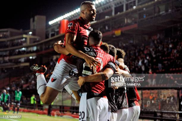 Tomas Sandoval of Argentinian Colon celebrates with teammates after scoring against Peruvian Deportivo Municipal during a Copa Sudamericana 2019...