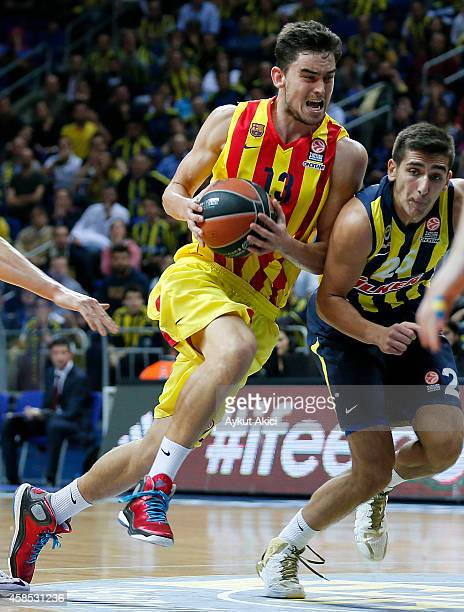 Tomas Satoransky #13 of FC Barcelona in action during the 20142015 Turkish Airlines Euroleague Basketball Regular Season Date 4 game between...