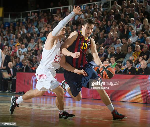 Tomas Satoransky #13 of FC Barcelona in action during the 20142015 Turkish Airlines Euroleague Basketball Regular Season Date 7 game between FC...