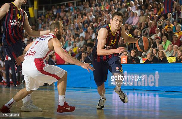 Tomas Satoransky #13 of FC Barcelona in action during the 20142015 Turkish Airlines Euroleague Basketball Play Off Game 2 between FC Barcelona v...