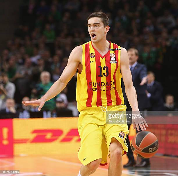 Tomas Satoransky #13 of FC Barcelona in action during the Turkish Airlines Euroleague Basketball Top 16 Date 12 game between Zalgiris Kaunas v FC...