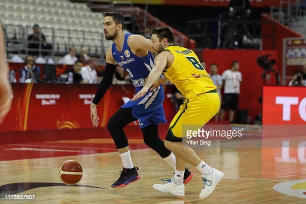 Tomas Satoransky of Czech Republic dribbles against Matthew Dellavedova of Australia during the quarter final match between Australia and Czech...